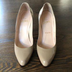 Christina Louboutin Nude patent leather heels